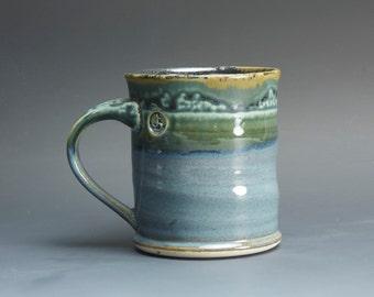 Handmade white stoneware coffee mug teacup glossy medium blue 14 oz 3049