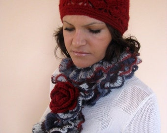CLEARANCE SALE - 50% OFF- Crochet Ruffle Scarf / Multicolor Crocheted Scarf/ Ready to Ship /Sale