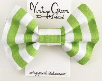 Green Stripe Baby Bow Headband, Headband Bow, Toddler Bow, Photo Shoot, Nylon Head band, Girl's Hair Clip