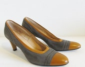 50% OFF SALE Vintage 1970's Suede Leather Pumps / Ladies Size 8 Tone Brown Heels