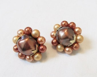 50% OFF SALE Vintage 1960's Beaded Clip-On Earrings / Champagne