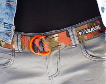 Fat Nylon Belt with Orange Powder Coat D'rings - Flecktarn Camo