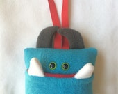 Tooth Fairy Pillow | Turquoise Blue, Red, Gray | Tooth Fairy Monster Pillow