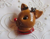 Vintage Plastic Christmas Reindeer Pin with Red Nose