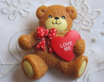 Vintage Enesco Plastic Brown Bear Brooch with Red Polka Dot Bow and Red Heart