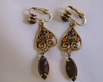 Vintage Gold Tone Dangle Style Clip On Earrings with Light and Dark Gold Rhinestones