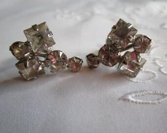 Vintage Silver Tone Clear Faceted Rhinestone Screw Back Earrings