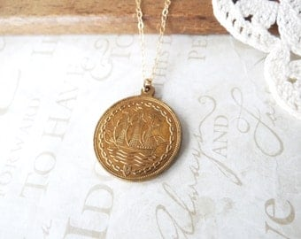 shape up SHIP out tall ship coin pendant charm necklace | pirate | seas | adventure | vintage coin | statement necklace | layering necklace