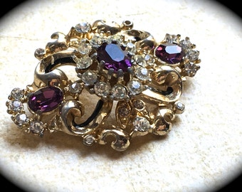 Signed Coro Brooch-Vintage Rhinestone Brooch 1950s Mid Century Hollywood Glam Purple Lilac Orchid Lavender gold-toned Navette Brooch