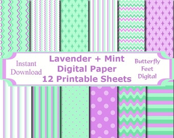 Lavender and Mint Digital Paper Pack, 12 Printable Designs, Scrapbooking, Card Making, Paper Crafting, Printable Party, Instant Download