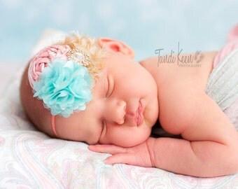 Divine Finery - peach mint aqua coral gold glitter metallic rosette chiffon and lace headband