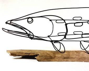 Fish Wire Sculpture, Northern Pike Sculpture, Fish Wire Art, Minimal Sculpture, 287944439