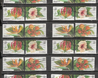 24 TROPICAL FLOWERS Used & Cancelled 33c US Postage Stamps (6 sets of each of the 4 flowers)