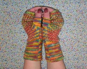 Hand painted fingerless gloves knit from merino wool and cashmere, wrist warmers