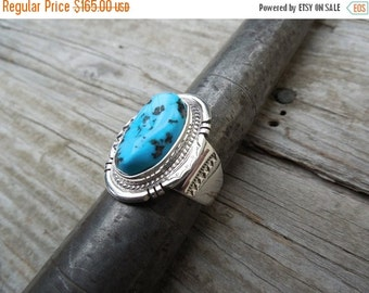 ON SALE Sleeping beauty blue turquoise ring handmade in sterling silver 925 by an American Indian