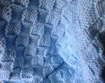 Knit smaller baby blanket (blue)