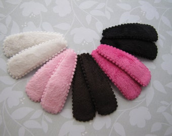 Faux Fur . snap clips . girls hair accessory . black brown white pink