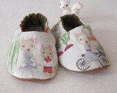 Baby Slippers Flannel Mouse Print Baby Booties Sherpa Fleece Inner Sole size 3-6 months