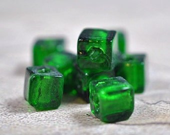 Murano style green glass cubes, 8mm - #1673
