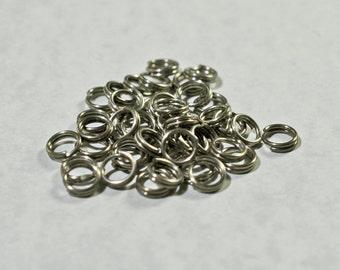 Split Rings: Antique silver color, 6mm - #1114