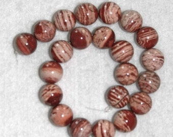 Jasper, Red River Jasper, Round Bead, Red Jasper Bead, Natural Stone, Half Strand, 12mm 16 beads