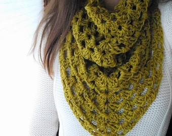 Hand Crochet Infinity Cowl Kerchief Scarf - Pick YOUR Color