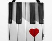 Piano Tote Bag, Shopper Tote, Purse, Piano Keys, Heart, Instrument, Musician, Black and White, Red, Surreal, Love, Gift, Music, Photo Tote