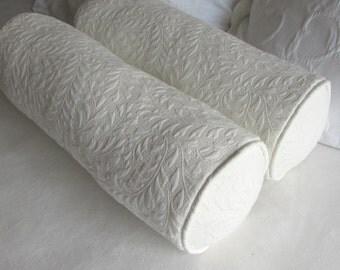 PAIR MATELASSE ivory bolster pillows 7x20 includes insert
