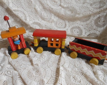 3 Wooden Train Cars Puffy Fisher Price Vintage at Quilted Nest