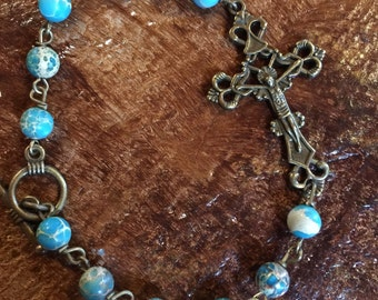 Turquoise Sea Sediment Jasper Crucifix Bracelet