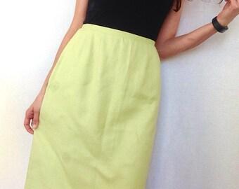Vintage Linen Skirt Lime Green Midi Skirt 70s Knee Length Pastel Fitted Waist Size Small to Medium