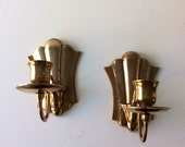 Solid brass candelabra pair, vintage 1980s brass candleholder set of two, Brass Wall Sconces