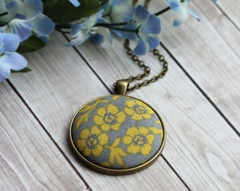 Gray And Yellow Necklace, Floral Fabric Pendant, Mustard Yellow Boho Jewelry, Modern Jewelry, Flower Necklace, Yellow Pendant, Women, Unique