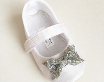 Baby Girl Shoes Toddler Girl Shoes Infant Shoes Soft Soled Shoes Wedding Shoes Flower Girl Shoes White shoe Glitter Sliver Bow Shoes - Belle