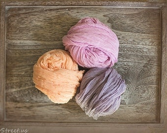 Three Cheese Cloth Wraps, PInk Cheesecloth, Peach and Purple Cheese Cloth, Cheese Cloth Cocoon Wrap, Photo Prop, Newborn Props