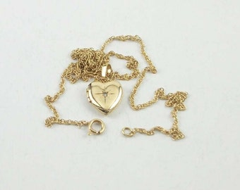 """Vintage 14k Petite Yellow Gold and Diamond Heart Locket on 16"""" Yellow Gold Chain"""