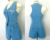 Denim Shorts Vest Romper Jumper One Piece Small Size 4 to 6