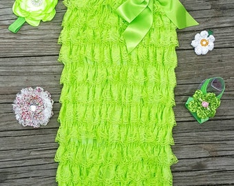 Lace Romper Baby Romper Lace Petti Romper 1st Birthday Outfit Petti Lace Romper Toddler Romper Girls Romper Lime Romper Newborn Romper