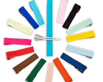 10 Lined Alligator Clips Partially Lined Hair Clips Ribbon Coved Hair Clips Baby Hair Clips Girl Hair Clips Blank Hair Clips Colored Ribbon