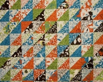 CIJ SALE Butterfly Quilt Triangles Chrysalis Tangerine Turquoise Lime Chocolate Brown Quilted Quiltsy Handmade FREE U.S. Shipping