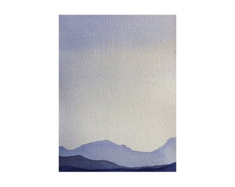 Purple Mountains Watercolor Art Original Watercolor Painting Watercolor Landscape Mountain Painting small watercolor original