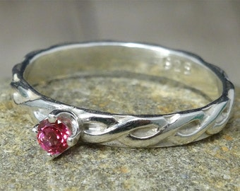 Pink Topaz Sterling Silver Patterned Stacking Ring