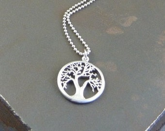Silver Tree of Life Necklace. tree necklace. short necklace. modern necklace. delicate necklace. layering necklace. nature necklace.