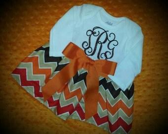 Chevron dress, thanksgiving dress, girls dress, monogrammed dress, fall dress