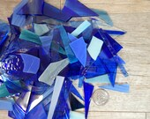 Mixed Blue Stained Glass Scraps Mosaic Craft Supplies 16 oz