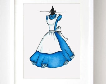 Alice in Wonderland Sketch Disney Watercolor - Fine Art Sketch Print