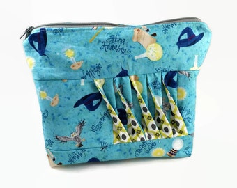 Zipper Pouch, Zipper Clutch, Pleated Purse, Cosmetic Bag, Toiletries Clutch, Wizard, Magic, Spells, Wand, Owl Clutch, Carry All Pouch