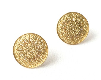 Minimalist Gold Sand Dollar Earrings. FAST Shipping w/ Tracking for US Buyers. Will arrive in a Gift Box w/Ribbon. Ready for Gift Giving.
