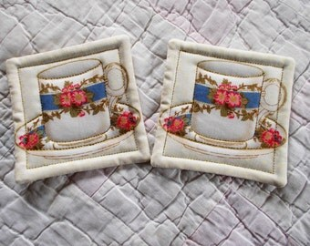 Teacup Quilted Coasters (Set of 2)