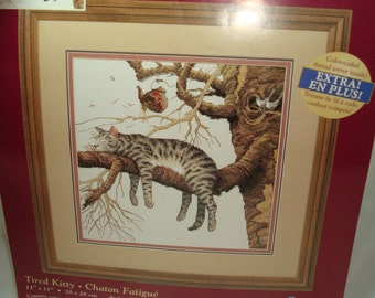 Dimensions Creative Accents Counted Cross Stitch Tired Kitty Kit.